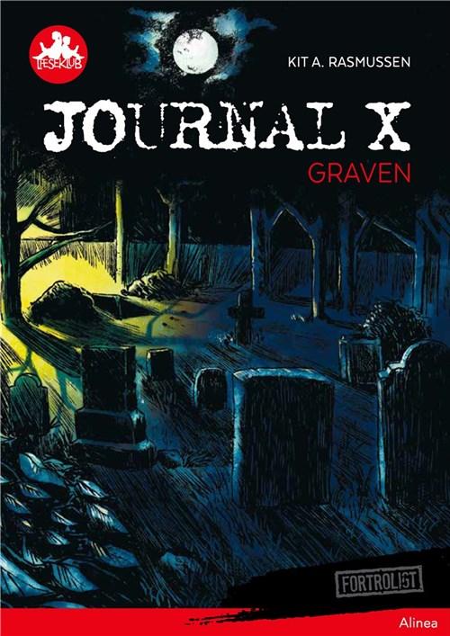 """Journal X: Graven  Anders og hans ven Kalle graver dybere i en sag, der foregår på kirkegården. Den 13. i hver måned bliver grave åbnet i nattens mørke. Drengene beslutter sig for at finde ud af, hvem eller hvad der står bag. Bliver gravene åbnet nedefra? Eller foregår der mystiske ritualer på kirkegården om natten? Da Anders og Kalle er ved at opklare sagen, bliver de begravet i svar, som gør det svært at trække vejret.  """"Det her er blade fra en blodbøg, plukket ved midnat på en måneløs nat."""" Anders nikker, som om han er helt med. """"Og her har vi huden. Skrællet af en nyligt afdød i tykke flager."""" Kalle prøver at holde kvalmen tilbage. Anders nikker lidt mindre ivrigt. """"Og blod. Det er jo det vigtigste,"""" siger hun. """"Tappet fra et barn på under to år."""" """"Blod?"""" Kalles stemme ryster.  Bog skrevet af Kit A. Rasmussen"""
